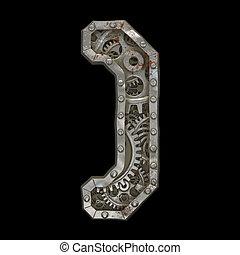engrenages, rivet, droit, parentheses., alphabet, fait, 3d,...