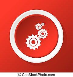 engrenages, rouges, icône