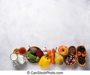 engte, voedingsmiddelen, bowel., gezonde