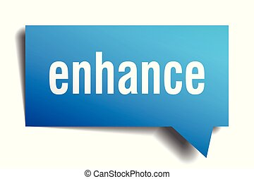 enhance blue 3d speech bubble - enhance blue 3d square...