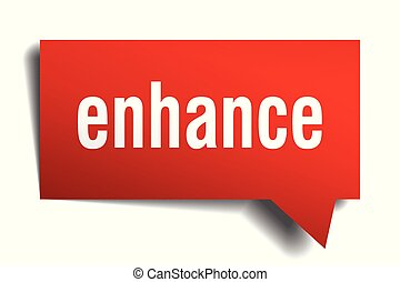 enhance red 3d speech bubble - enhance red 3d square...