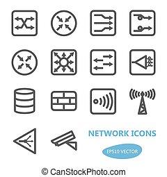 enheter, ikon, nätverk, sätta