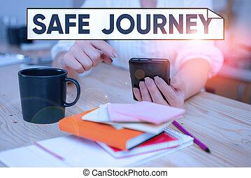 enheter, kassaskåp, kontor, smartphone, begrepp, handstil, betydelse, resa, journey., någon, resa, eller, text, insida, användande, artig, skaffar, kvinna, önska, väg, home., teknologisk