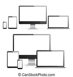 enheter, med, vit, skärmen