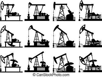 enheter, pump., silhouettes, olja