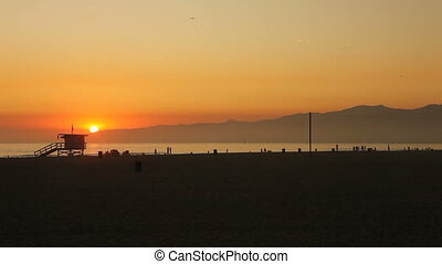 enice Beach California at Sunset Wi - Sun Setting in Venice...