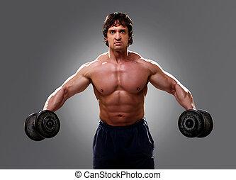 enig, bodybuilder, closeup, gewichten, het tilen
