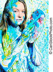 enigma - Art project: beautiful woman painted with many...