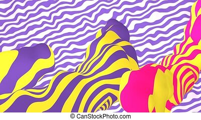 """""""3d rendering of waving violet and white surface with a monster looking creature camouflaging under yellow, rosy and violet waves."""""""