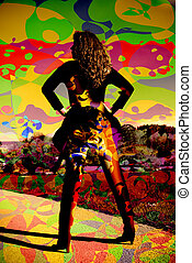 enigmatic woman colorful background