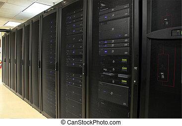enigszins, rekken, van, 1u, en, 2u, servers, in, black ,...