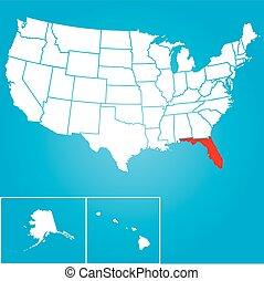 enigt, florida, -, illustration, påstår, tillstånd, amerika