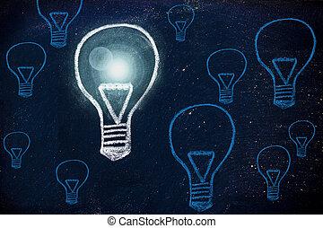 enjôleur, idée, craie, conception, à, lightbulbs