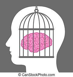 enjaulado, cérebro, dentro, um, cabeça masculina