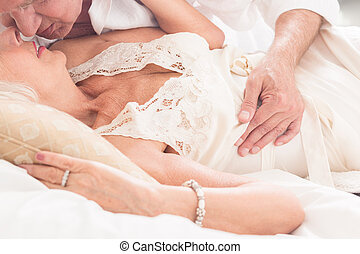 Enjoy a romantic old age - Close up of a senior couple ...