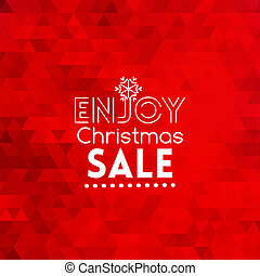 Enjoy Christmas Sale card on triangular red abstract background