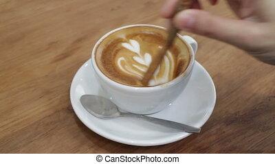 Enjoy Cinnamon Aroma With Hot Coffee, stock video