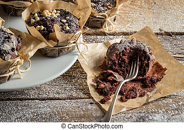 Enjoy freshly baked chocolate muffins