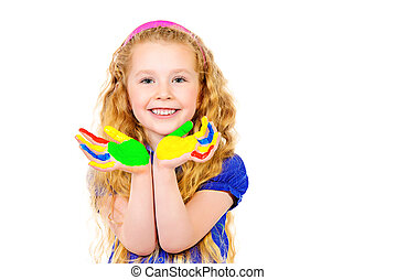 Laughing little girl painted in bright colors. Happy childhood. Isolated over white.