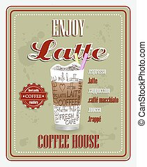 Enjoy latte vector background - Coffee house poster design...