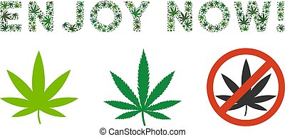 Enjoy Now Caption Collage of Weed Leaves - Enjoy Now label...