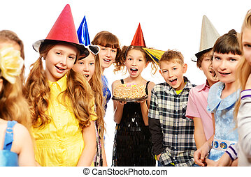 enjoy party - Group of happy kids celebrating birthday with...