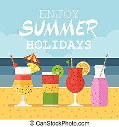 Enjoy Summer Card with Beach Cocktails