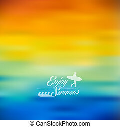 Summer holidays, surf and wave elements with colorful blurry effect background. EPS10 vector file with transparency layers.