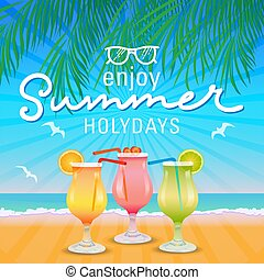 summer holidays enjoy your trip poster vector background illustration