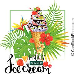 Enjoy summer ice cream bright composition
