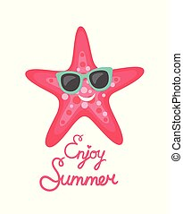 Enjoy Summer Pink Starfish Wearing Sunglasses
