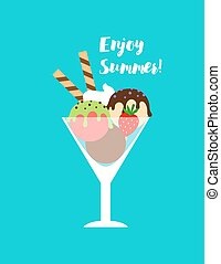 Enjoy summer poster with ice cream