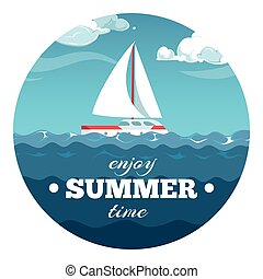 Enjoy summer time postcard design. Sea illustration with sample text and boat