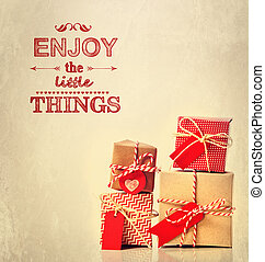 Enjoy the Little Things text with gift boxes
