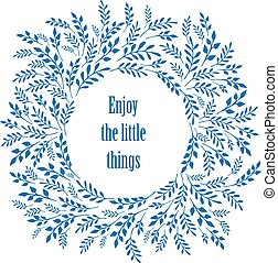 Enjoy the little things typography poster with floral design elements