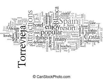 Enjoy The Sights Intorrevieja Spain text background wordcloud concept