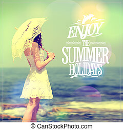 Enjoy the summer holidays quote card with girl in white dress with lacy umbrella