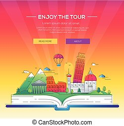 Enjoy the tour - vector line travel illustration
