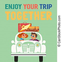 Enjoy travel together typography poster. Cheerful flat color vector. Family travelling by car cute cartoon. Happy smiling family travellers enjoy summer vacation journey. Colorful humor illustration