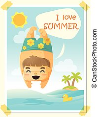 Enjoy tropical summer holiday with little boy, vector, illustration