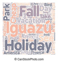 Enjoy Your Cheap Holiday Vacation To Iguazu Falls text background wordcloud concept