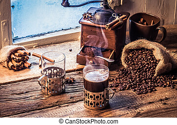 Enjoy your coffee in winter day