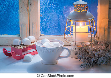 Enjoy your tasty Christmas chocolate with marshmallows