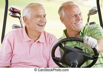 enjoying, игра, мужской, гольф, friends