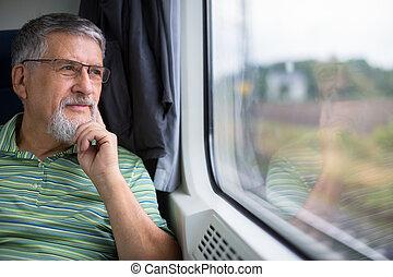 enjoying, путешествовать, поезд, старшая, человек