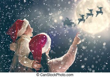 enjoying, семья, рождество