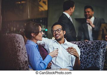 Enjoying a drink together