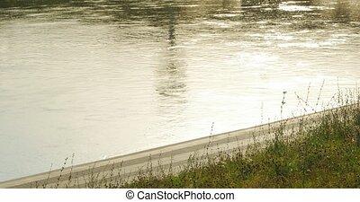 Enjoying a morning run. Man running along the riverbank. -...