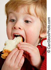 Enjoying a peanut butter and jelly sandwich - Closeup of a ...