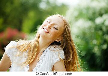 enjoying blonde woman